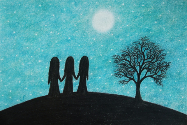 Three Sisters Card, Moon Stars Card, Friends Silhouette Card,Spiritual Art Card