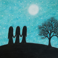 Sister Card, Moon Sister Card, Friend Card, Sister Silhouette Card, Sister Tree