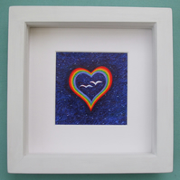 Heart Picture, Engagement Gift, Rainbow Heart Print, Anniversary Heart Framed