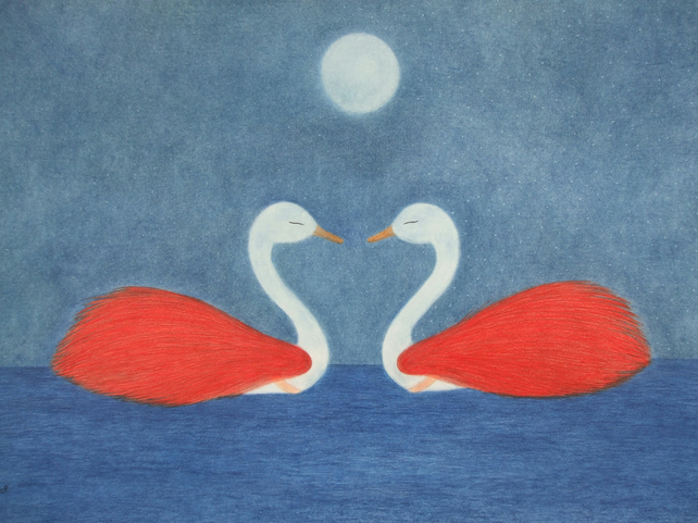 Swan Card, Anniversary Swan Card, Romantic Swan Moon Card, Wedding Swan Art Card