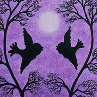 Purple Bird Card: Romantic Bird Moon Card, Love Card, Anniversary Bird Card, Art