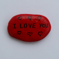 Love Pebble: Love Magnet, Love Gift, Love Art, Red Stone, Anniversary Gift Love