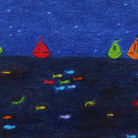 Boat Card: Sailing Boat Card, Rainbow Boat Card, Children Card Boats, Sea Card