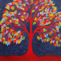Thank You Card Tree, Thank You Art Card, Tree of Life, Thank You, Rainbow Tree,