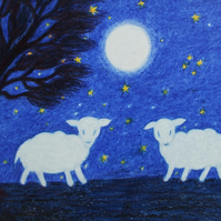 Sheep Card: Lamb Card, White Sheep Card, Moon, Sheep Art Card, Kids Card Moon