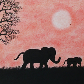 Elephant Card, Baby Elephant Silhouette Card, Mother Baby Animal Card