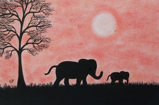 Elephant Card, Children Card, Animal Card, Mother Elephant Art Card, Father Card