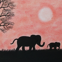 Elephant Card, Baby Elephant Card, Mother Son Card, Father Animal Silhouette Art