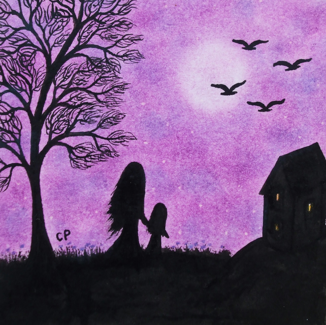 Mother Daughter Card, Moon Art Card, Tree Card, Purple Mother Child Moon Card