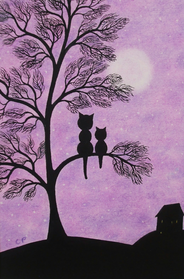 Cat Tree Card, Purple Mother Baby Card, Black Cat Card, Kitten Moon Art Card