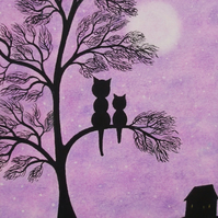 Cat Mothers Day Card, Purple Tree Card, kitten Daughter Card, Black Cat Moon Art
