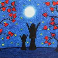 Mother Daughter Print, Framed Moon Stars Picture, Daughter Gift, Moon Love Art