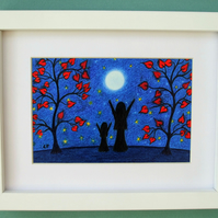 Mother Daughter Print, Framed Art Gift, Moon Stars Picture, Mum Girl Silhouette