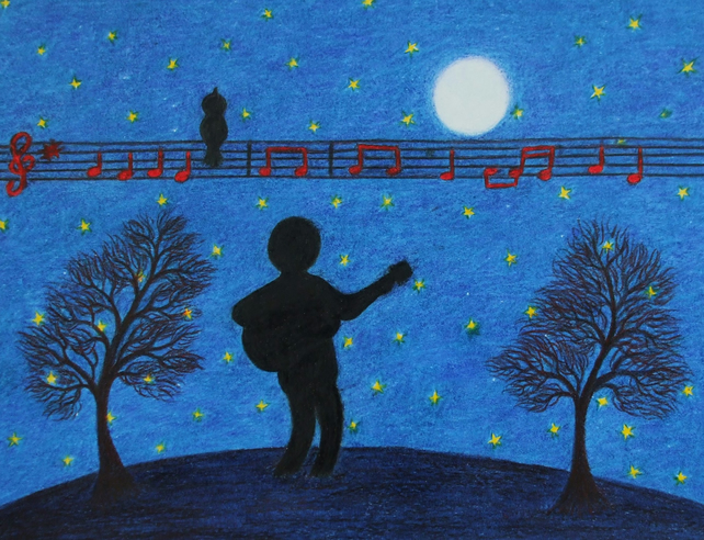 Guitar Card, Music Card, Guitarist Card, Spiritual Card, Music Art Card, Guitar
