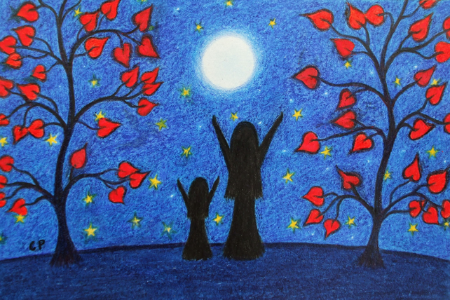 Mother Daughter Card, Moon Heart Child Card, Girl Birthday Card, Moon Stars Card