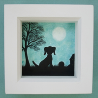Dog Picture: Framed Dog Art, Dog Silhouette, Dog Gift, Dog Tree Moon Drawing Art