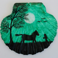 Horse Painting on Shell: Birthday Gift, Horse Art, Animal Silhouette, Shell Art