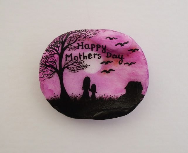 Mothers Day Gift, Hand Painted Shell, Mothers Day Art, Mother Child Tree Birds