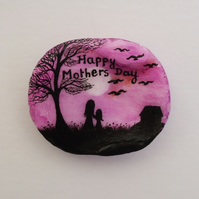 Mothers Day Gift, Hand Painted Shell, Mother Daughter Tree Birds, Seashell Art