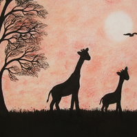 Giraffe Mothers Day Card, Giraffe Silhouette Card, Mother Baby Art Card, Animal
