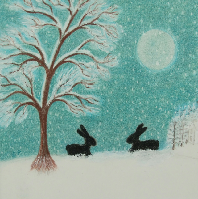 Rabbit Card, Snow Bunny Card, Children Card, Rabbit Snow Card Blank Moon Card