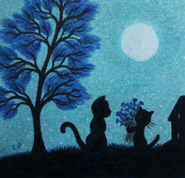 Cat Print, Fathers Day Gift, Kitten Flowers Print, Mother Gift, Cats Moon Art