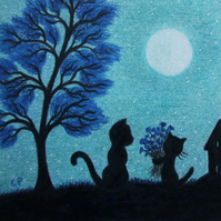 Cat Art Print, Kitten Flowers, Birthday Gift, Black Cats Tree Moon Print, Blue
