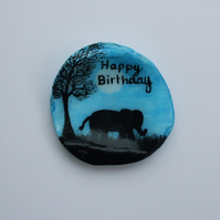 Elephant Birthday Card, Unique Birthday Card, Elephant Shell Card, Hand Painted