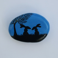 Rabbit Painting on Stone, Rabbit Magnet, Bunny Gift, Pebble Art, Hare Magnet,