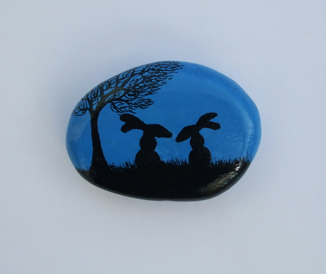 Rabbits Stone Painting, Easter Gift, Bunny Rock Magnet, Pebble Art, Easter Hare