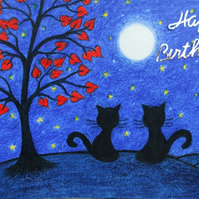 Birthday Card, Cat Card, Birthday Black Cat Card, Moon Stars Cats, Birthday Art