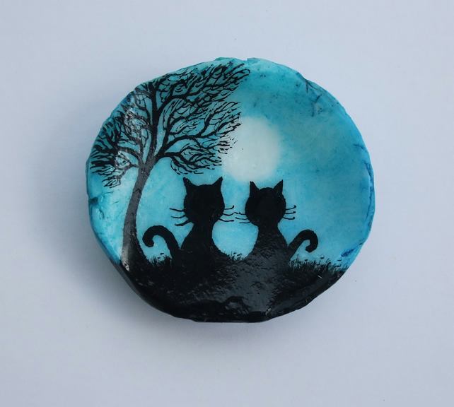Cat Painting on Shell: Cats Tree Moon, Cat Gifts, Painted Shell, Black Cat Gift