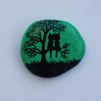 Painted Pebble, Cat Tree Painting, Love Cats, Stone Art, Love Gift, Hand Painted