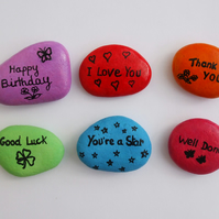 Personalised Card Alternative, Painted Pebble, Magnet, Custom Gift, Stone Art
