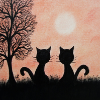 Cat Card, Blank Cat Card, Two Cats Tree Card, Love Cat Card, Birthday Cat Card