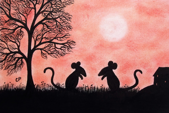 Mouse Card, Children Card, Mice Silhouette Card, Blank Mouse Card, Kids Art Card