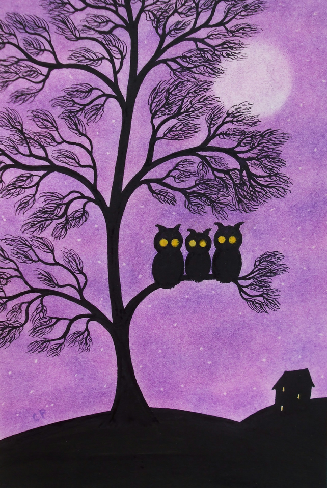 Owl Card, Purple Tree Card, Daughter Card, Owl Birthday Card, Three Owls in Tree
