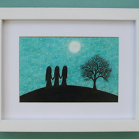 Sister Gift, Three Sisters Art Print, Framed Moon Sister Picture, Friends Gift