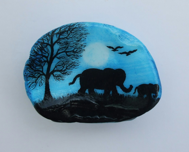 Mother Elephant Painting on Shell, Art Gift, Elephant Silhouette, Father Gift