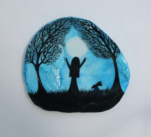 Moon Painting on Shell, Girl Moon Trees Rabbit, Daughter Gift, Moon Shell Art