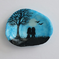Couple Moon Painting on Shell, Romantic Gift, Moon Tree Couple, Love Art, Shell