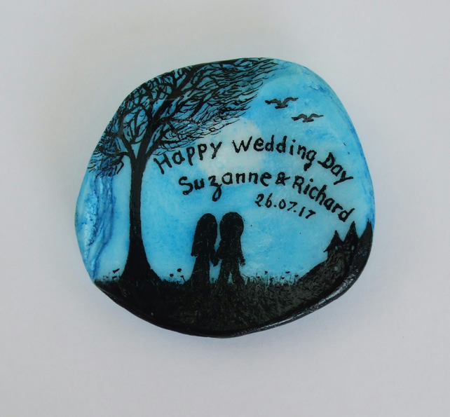 Wedding Gift, Personalised Painting on Shell, Wedding Day Gift, Couple Tree Bird
