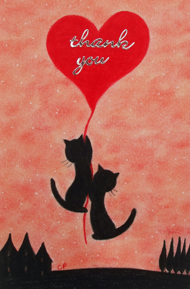Thank You Card, Cats and Heart, Wedding Thank You Cat Card, Thank You Heart Card
