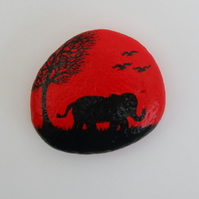 Elephant Art Painting on Pebble, Hand Painted Elephant, Rock Art, Painted Stone