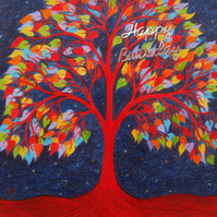 Tree Birthday Card, Rainbow Tree Card, Birthday Tree of Life Card, Tree Hearts