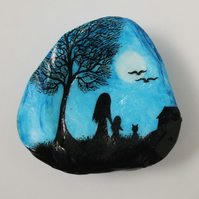 Painted Seashell, Mother Child Cat  Moon Tree Painting, Shell Art, Silhouette