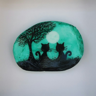 Painted Shell, Cat Tree Moon Painting, Seashell Art, Black Cat Gift Unique, Art