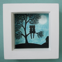 Cats in Tree Art Drawing, Framed Cat Picture, Love Art, Cat Silhouette Romantic