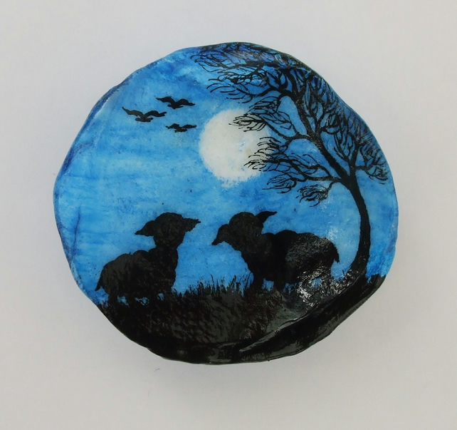 Sheep Painting on Shell: Black Sheep Gift, Lamb Silhouette, Shell Art, Two Sheep