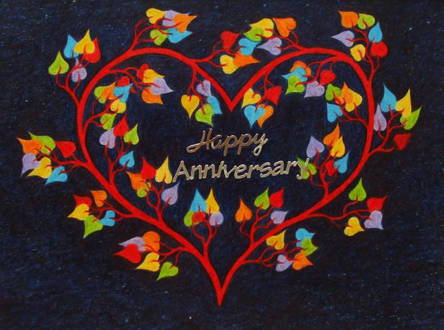 Anniversary Card, Heart Tree Card, Anniversary Heart, Rainbow Art Spiritual Card
